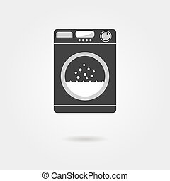 black washing machine with shadow concept of homework,...