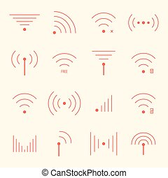 thin red wifi icons on yellow background concept of free...