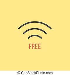 free wifi sign isolated on yellow background concept of...