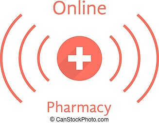 red online pharmacy logotype with wave concept of...