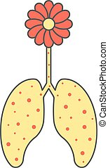 colored flower and sick lungs concept of allergic reaction,...