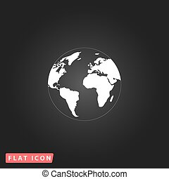 Pictograph of globe White flat simple vector icon on black...