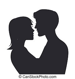 Two lovers Silhouette isolated on white background Vector...