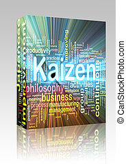 Kaizen word cloud glowing box package - Software package box...