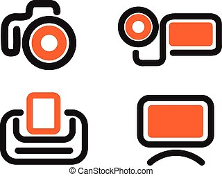 Photo video icon set