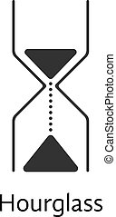 black abstract hourglass icon concept of passing of time,...