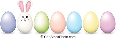 Row of Easter pastel eggs