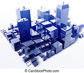 Modern abstract city - Abstract generic city with modern...