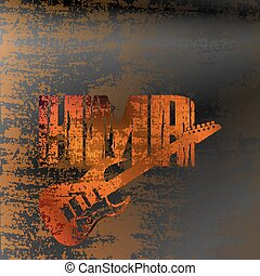 heavy metal rock on iron background