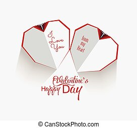 Creative paper heart Happy valentine