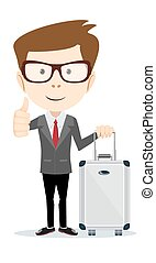 traveling man with suitcase Vector illustration