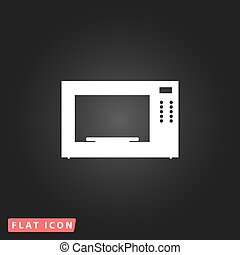 Microwave oven icon - Microwave oven. White flat simple...