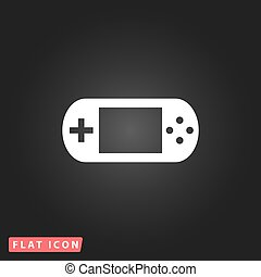 Handheld game console White flat simple vector icon on black...