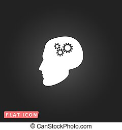 Human head gear hybrid knowledge White flat simple vector...