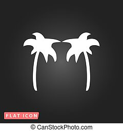Two  palm trees silhouette isolated