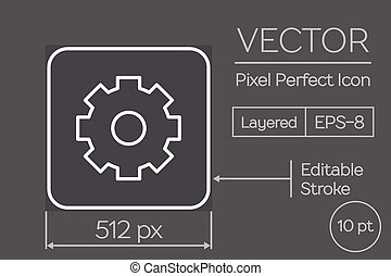 Gear Pixel Perfect Icon - Line Art Pixel Perfect Icon - Gear...
