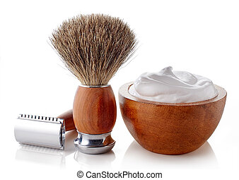 Wooden shaving accessories isolated on white background