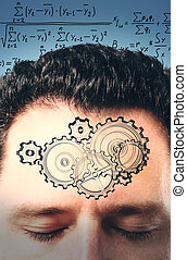 Man forehead with painted gears at equations background