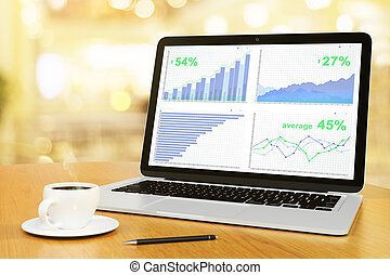Business chart on laptop screen with cup of coffee and pen on wooden table