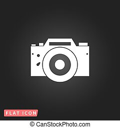 Digital photo camera White flat simple vector icon on black...