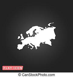 Eurasia map flat icon - Eurasia map White flat simple vector...