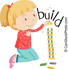 Little girl stacking the blocks illustration