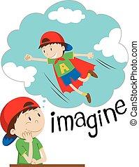 Boy imagining being superhero