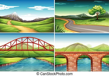 Four different scenes of countryside illustration