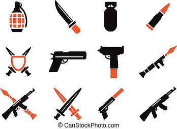 Weapon simply icons for web and user interface