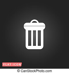 urn flat icon - Urn. White flat simple vector icon on black...