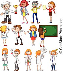 Teachers and scientists in different actions illustration