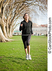 Woman exercise - A shot of a beautiful black woman exercises...