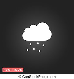 Cloud with hail White flat simple vector icon on black...