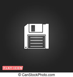 Diskette Save icon - Diskette Save White flat simple vector...