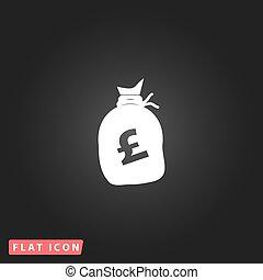 Money bag icon. Pound GBP - Money bag - Pound GBP. White...