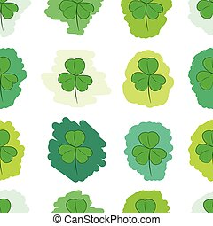 Seamless green painted shamrocks - Seamless texture with the...