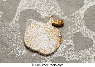 Close-up of cookie powdered with sugar
