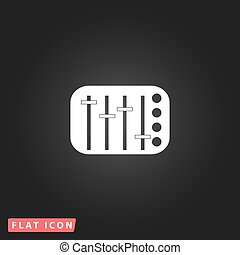 Sound Mixer Console. White flat simple vector icon on black...