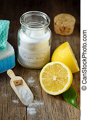 Cleaning tools lemon and sodium bicarbonate for house...
