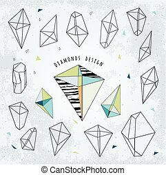 Line shapes cristal geometry. Diamonds design. Alchemy,...