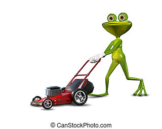 Frog with a lawn mower - Illustration green frog with a lawn...