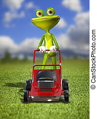 A frog with a frontal mower - Illustration green frog with a...