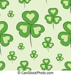 Seamless shamrocks with hearts - Seamless texture with a...