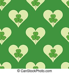 Seamless shamrock in hearts - Seamless texture with a...