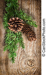 Christmas tree branches with pine cones Undecorated...