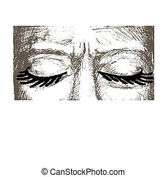 Closed eyes - Woman eyes closed are hand drawn, she has very...