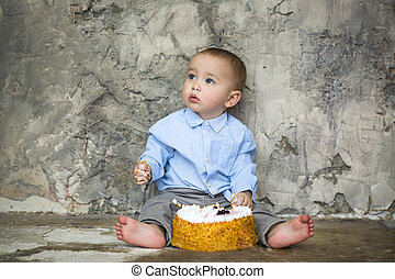 Adorable baby smashing cake - First birthday cake smashed by...