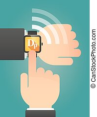 Hand pointing a smart watch with a drachma currency sign -...