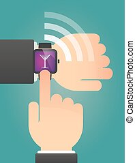 Hand pointing a smart watch with a cocktail glass -...