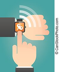 Hand pointing a smart watch with a toy crank - Illustration...
